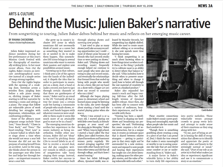 Print Version of Julien Baker Article By Rhiana Chickering